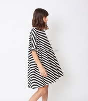 new fashion women apparel plus size Black & white striped short sleeve dress oversize loose tunic casual style for fat ladies