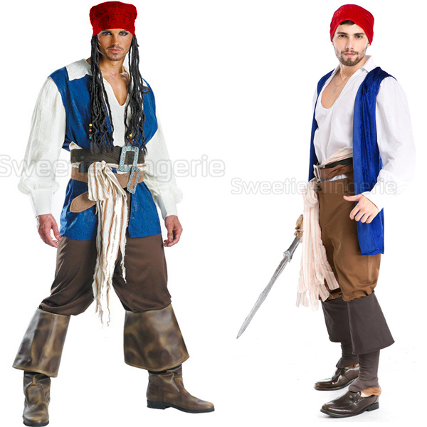 Quality Men Pirates of the Caribbean Costume Men's Halloween Costume Party Costumes Blue Men Pirate Costumes piratas do caribe