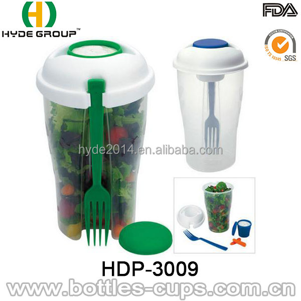 2016 Salad To Go Plastic Fruit Salad Cup With Dressing Container Fork