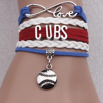 Manual Leather Accessories Por Baseball Team Letter Cubs Bracelets