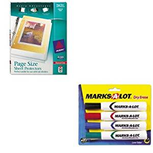KITAVE24409AVE74203 - Value Kit - Avery Top-Load Poly 3-Hole Punched Sheet Protectors (AVE74203) and Marks-a-lot Desk Style Dry Erase Markers (AVE24409)