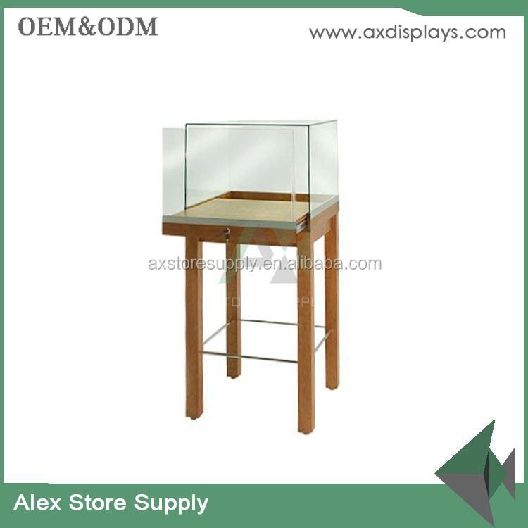High end customized glass MDF veneer jewelry tower display table