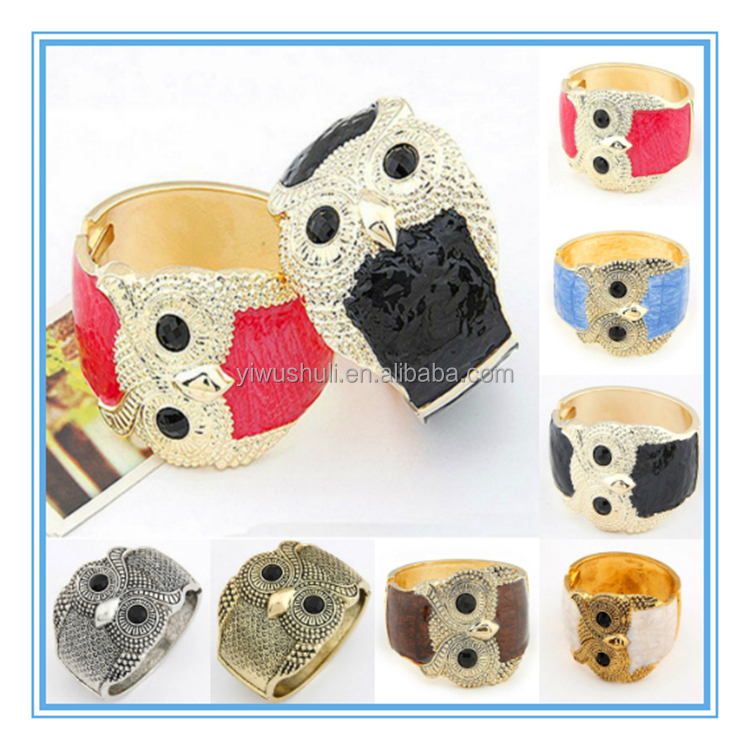 7 Colors Fashion Shiny Jewelry Owl Bangle Fashion Cuff Bracelet For Personality Women