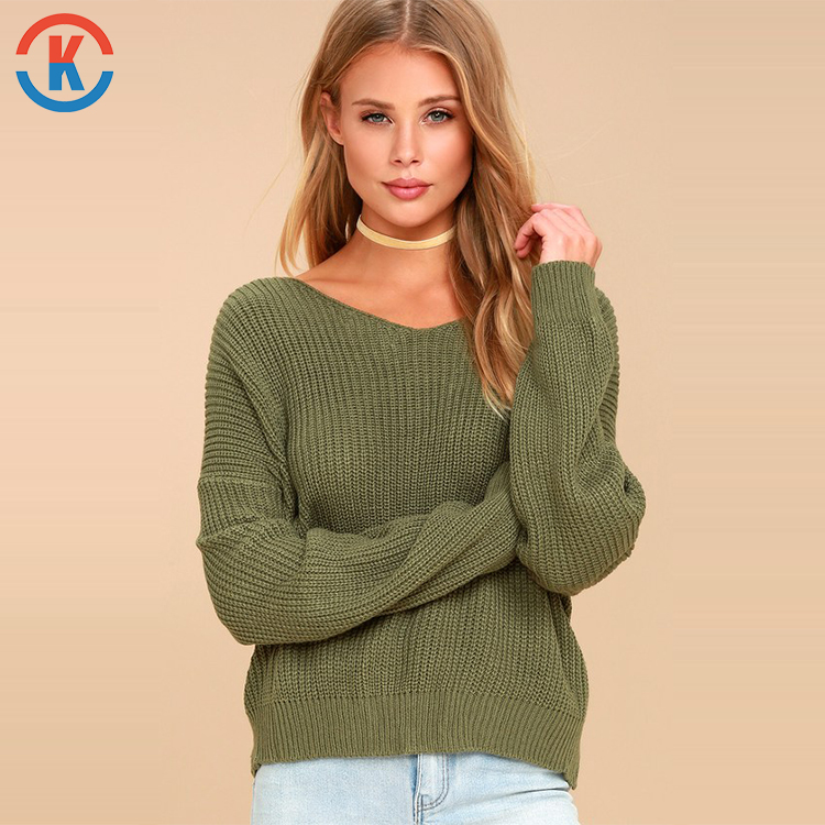 Latest Fashion Design Backless 100% Acrylic Custom Green Knit Ladies Sweater