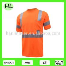 Cheap price bird-eye safety t-shirt for work wear