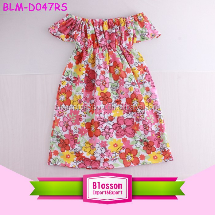 Wholesale Children's Boutique high low tops baby Girls long Sleeve tunic cotton Ruffle design dress