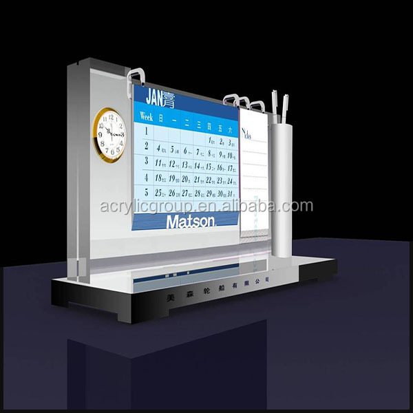 Multifunction Luxury Acrylic Calendar Desktop Stands