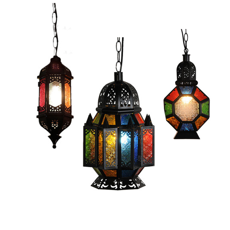 Moroccan Vintage Rustic Bronze Crystal Chandelier Southeast Asian Colored Agate Stone e27 iron pendant lights