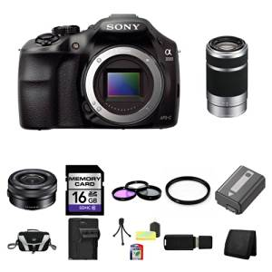 Sony A3000, ILCE-3000, ILCE-3000LB, 20. 1MP Interchangeable Lens Camera Black (Body) with Sony 16-50mm f/3.5-5.6 OSS Alpha E-mount Retractable Zoom Lens SELP1650 and Sony E 55-210mm F4.5-6.3 Lens for Sony NEX Cameras SEL55210 16GB Package 2