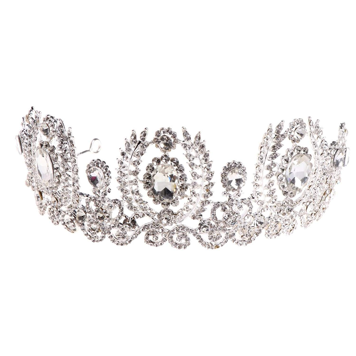 Get quotations · loxtong crown tiara prom queen crown quinceanera pageant crowns princess crown rhinestone crystal bridal crowns tiaras