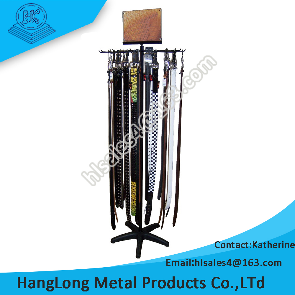 rotating leather belt display stand with advertising