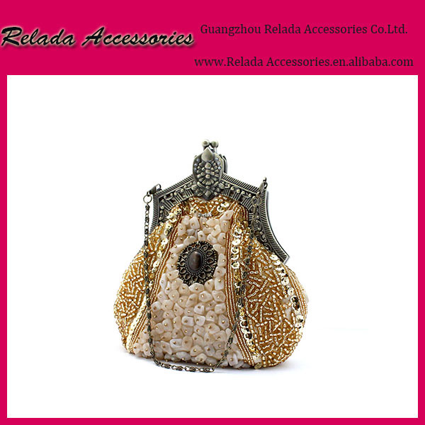 Wholesale custome beaded clutch bags with stone for lady