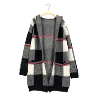 Most popular products handmade knitting alpaca long sleeves ladies hooded cable cardigan sweater for women