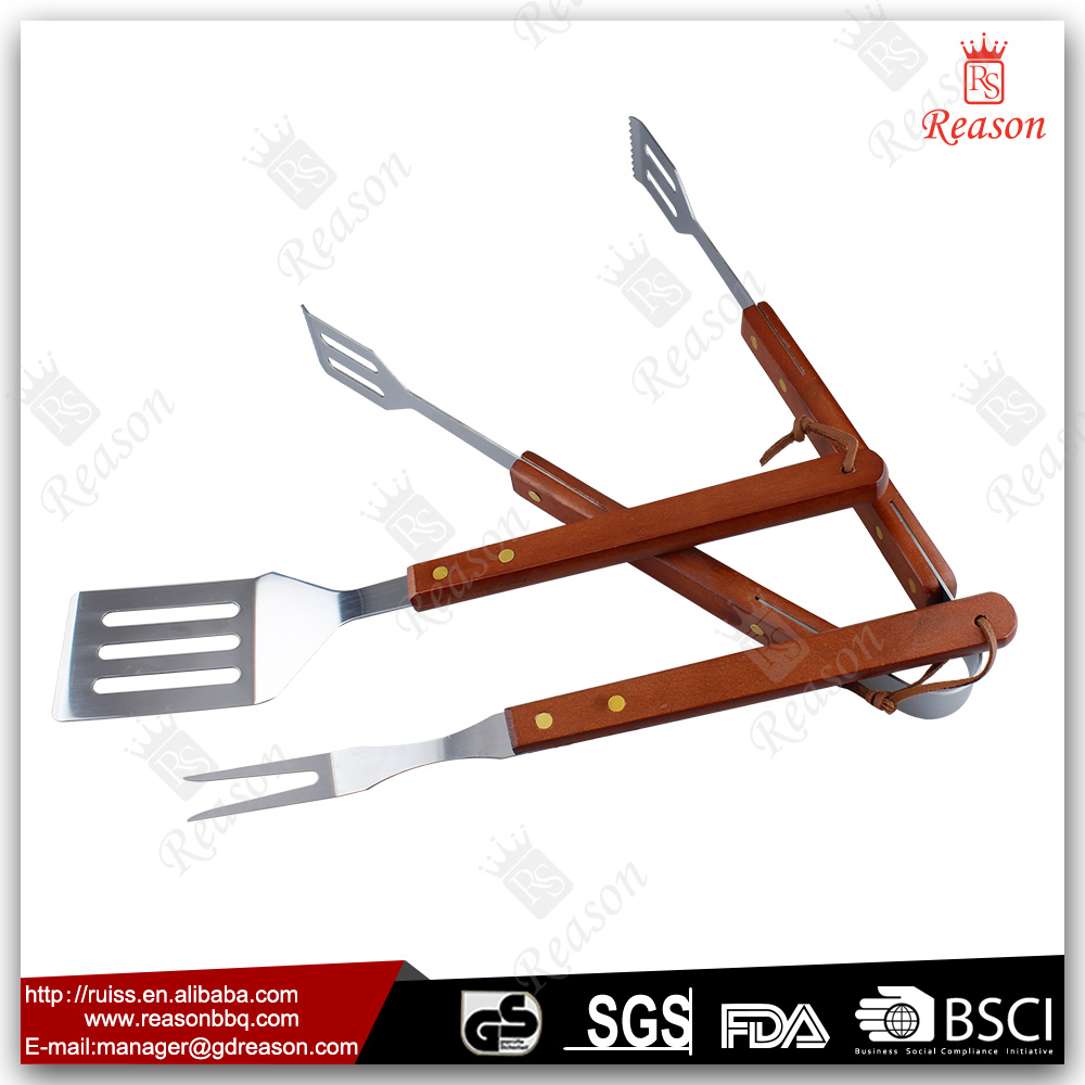 2016 gift promotion durable wooden handle wholesale bbq grill tools
