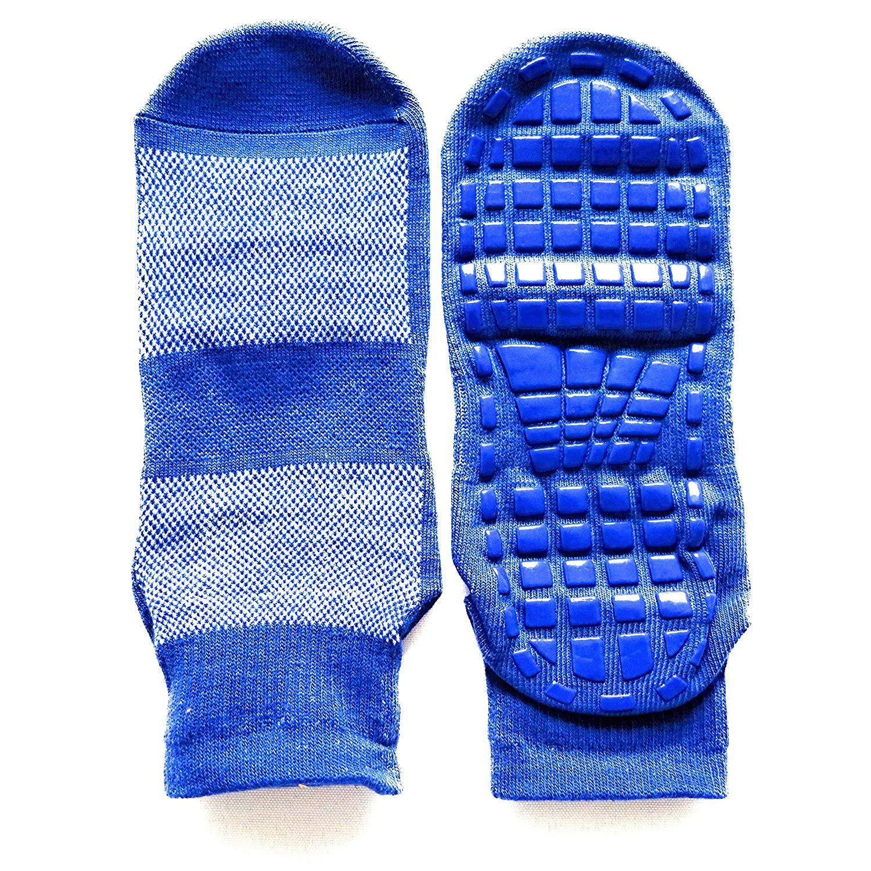 Anti-Skid, Non-Slip, 2-PAIR, Blue, Medium,Unisex, Men/Woman,Trampoline, Yoga, Pilates, Elderly Home Care, Slipper Sock