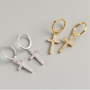 Trendy Fashion Sterling Silver Women Dainty Cross Hoop Earrings Gold Plated CZ Stone Diamond Pave Earrings With Cross Charm
