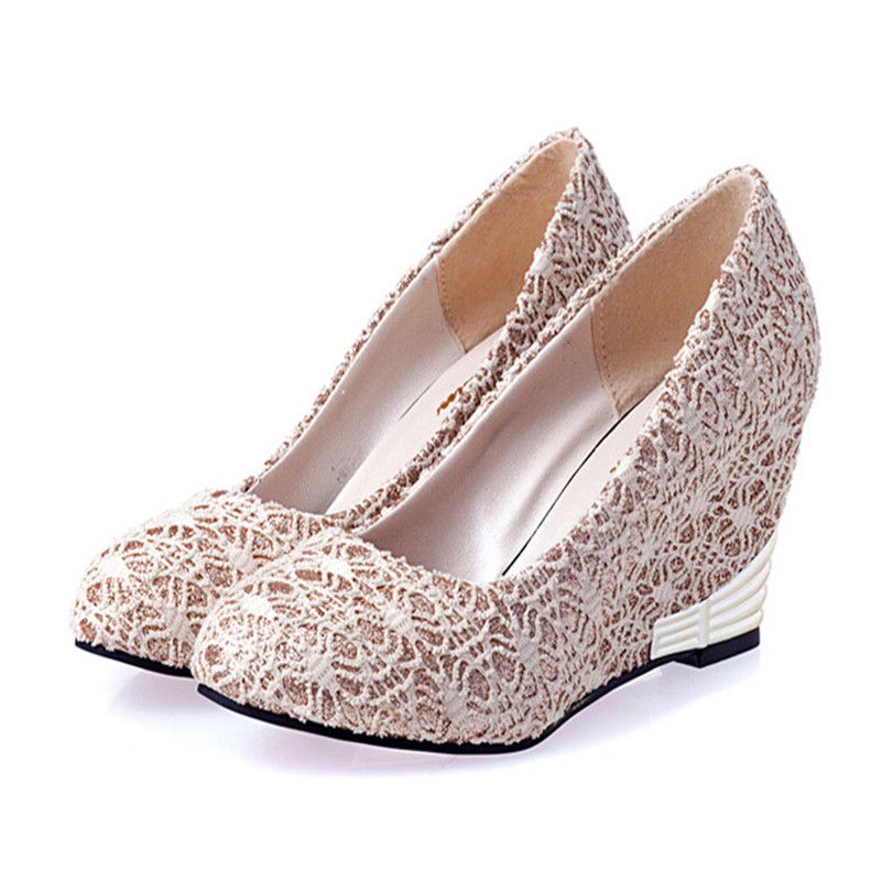 2015 New Autumn Spring Fashion Brand Eur Size 35-39 Party Casual Lace Detailed Shoe Sandals Women Wedges Pumps Shoes Summer