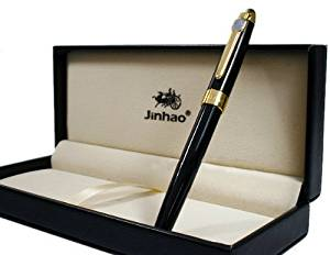 Hot Sale Band New Jinhao Black & Gold Fountain Pen Pen Barrel Is Finished in Vivid Black Lacquer ,Accent Trim Is Gold-tone. Cap Is Screw on Type Cap. with Push in Style Ink Converter