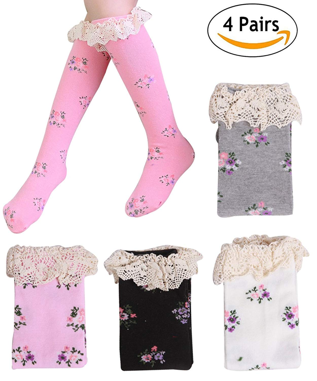 4b93f028f8b Get Quotations · Girls  Soft Lace Trim Knee High Tube Socks Toddler Cotton  Socks 4 Pairs