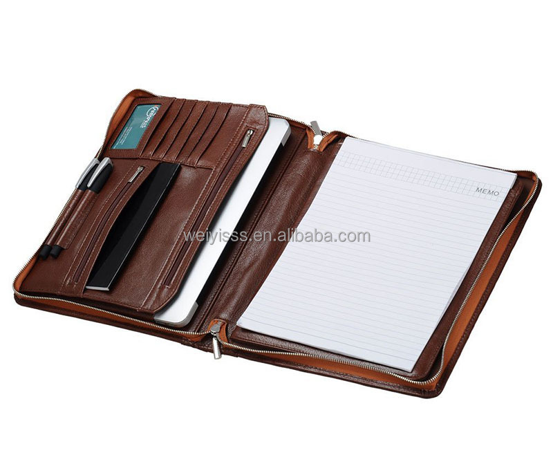 Professional Mens Leather A4 Organizer Padfolio Zippered