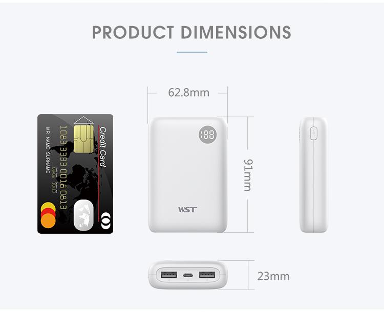 China supplier 2 usb ports 10000mah li-polymer battery smart power bank with digital display