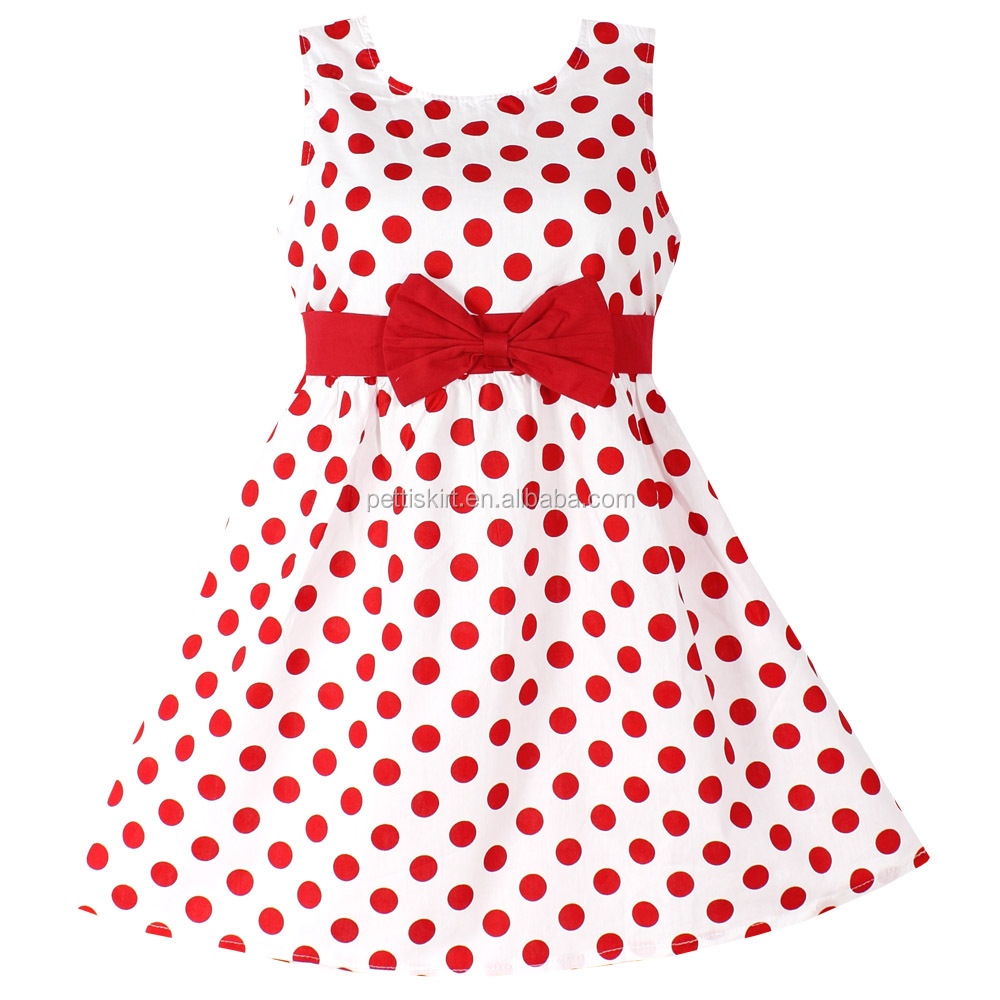 4df0e855f Girls Baby Dresses Red Polka Dot Pure Cotton Party Birthday Kids ...