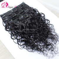 Raw indian curly hair clip in hair extensions for african american