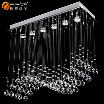 Chrome Linear Crystal Pendant Chandelier Transpa Ceiling 6 Lights Lamp Lighting Fixture Om711