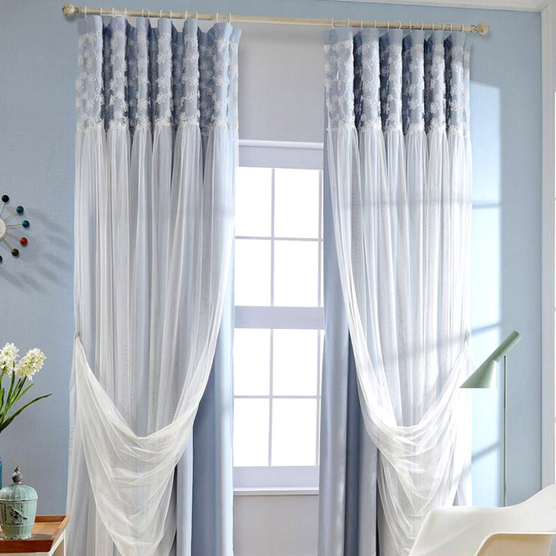 Romantic Blue White Blackout Fabric double layer Lace Curtain