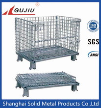 Storage Wire Mesh Cargo Folding Container, Warehouse Steel Cage Bin