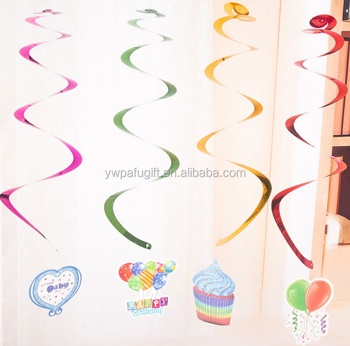 Birthday Party Decoration multiple Colour Hanging Swirl Party Whirls