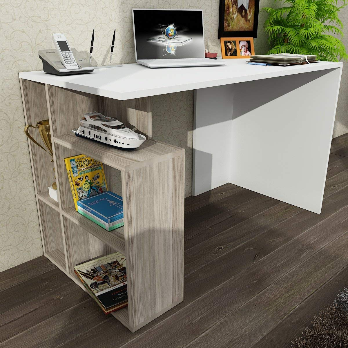 Writing Computer Desk Modern & Simple White Line Straight Flush Design Modern Flat Simple Study Desk Industrial Style Study & Laptop Table for Home, Office, Living Room, Study Room