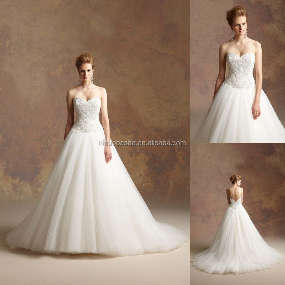 Gorgeous 2016 Ruffled Tulle Skirt Ball Gown Wedding Dress Sweetheart Low Cut Back Heavily Beaded Bodice
