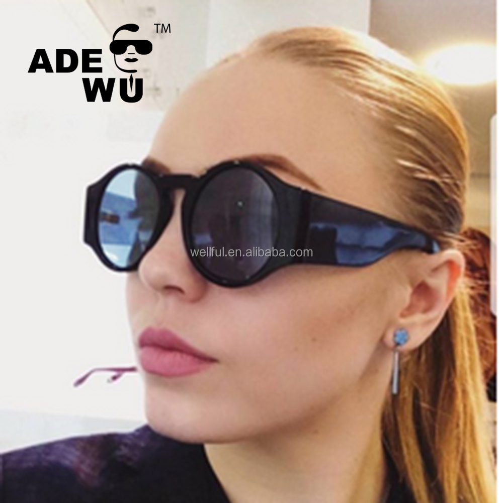 ADE WU 2018 New Fashionable Round Style Sunglasses Vintage Classic Women Tint Ocean Lens Sun Glasses De Sol Gafas