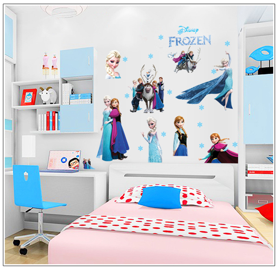 Frozen Wall Stickers Wholesale Elsa Queen And Snowflake Bedroom Decoration  Stickers