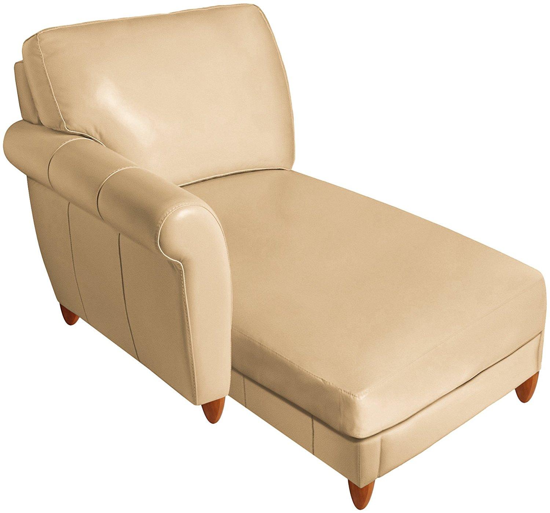 Omnia Leather Cameo Left Arm Chaise in Leather, Espresso Legs, Fashion Sandstone