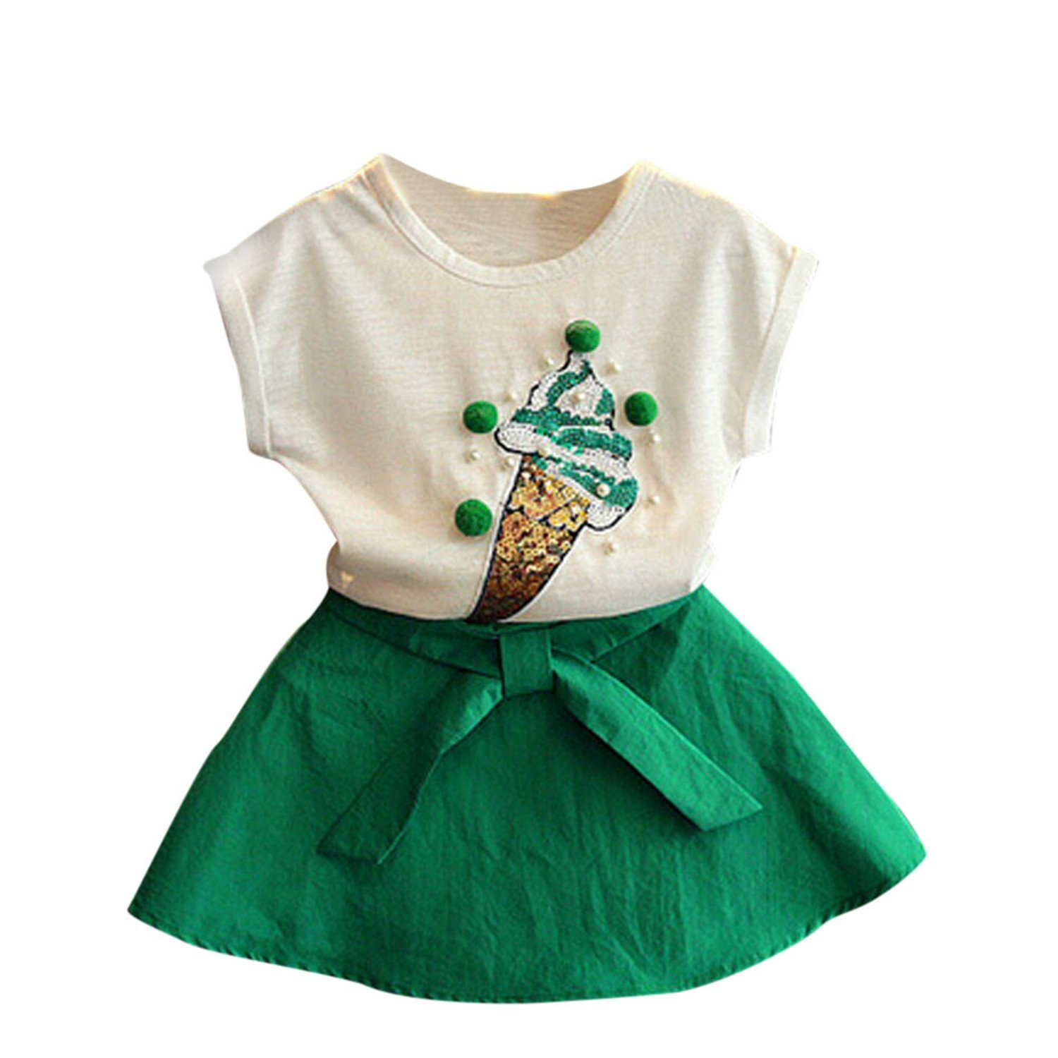 c6aa32eae3c37 Get Quotations · Nerefy Girls Clothes Kids Party Dresses Clothing Set T- Shirt+Skirts Girls Suit