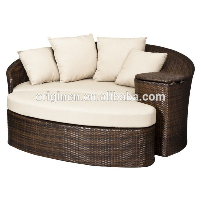 Great Patio Loveseat And Ottoman Sectional Round Sun Bed With Cooler Rattan  Outdoor Daybed