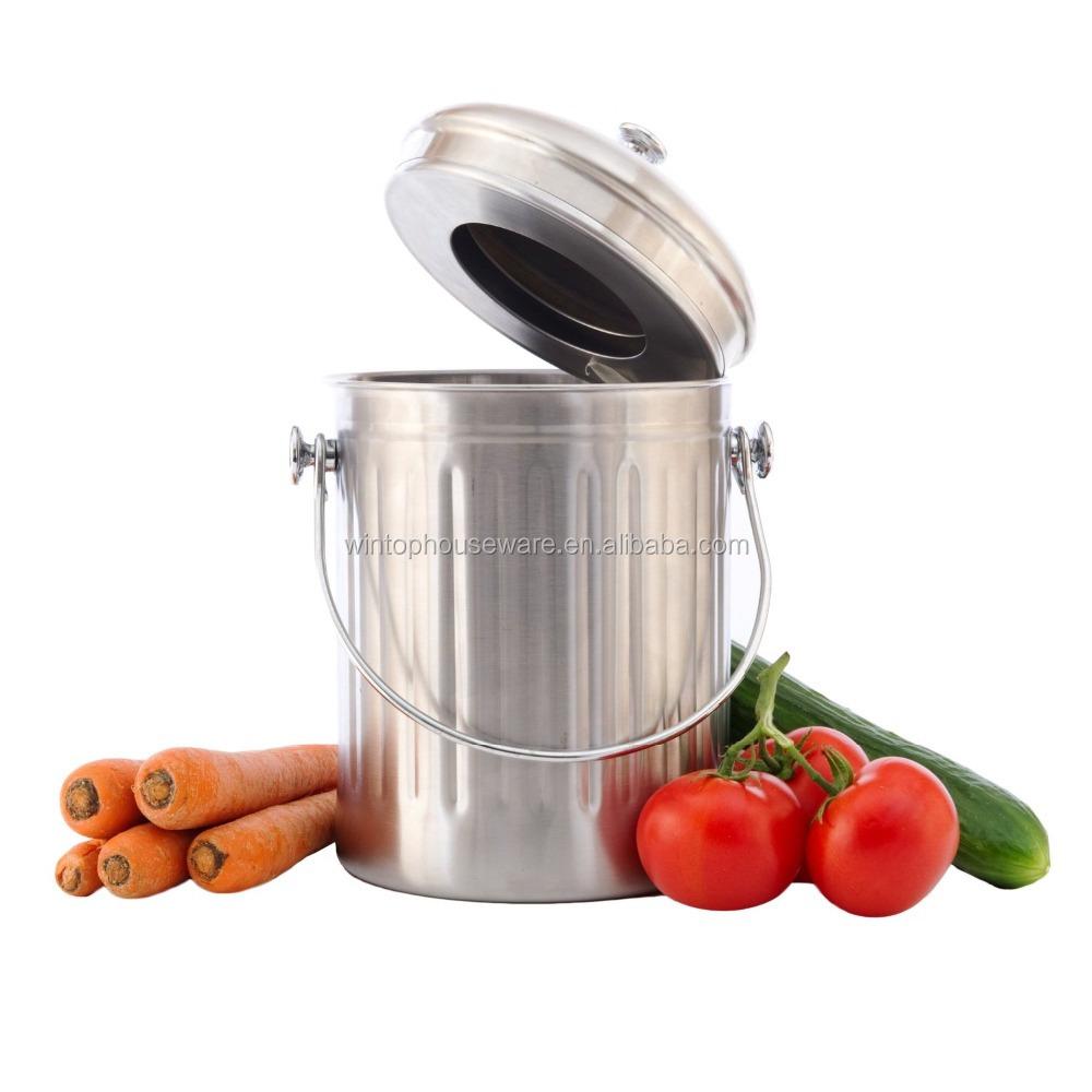 1,0 gallonen edelstahl küche kompost eimer mit aktivkohlefilter