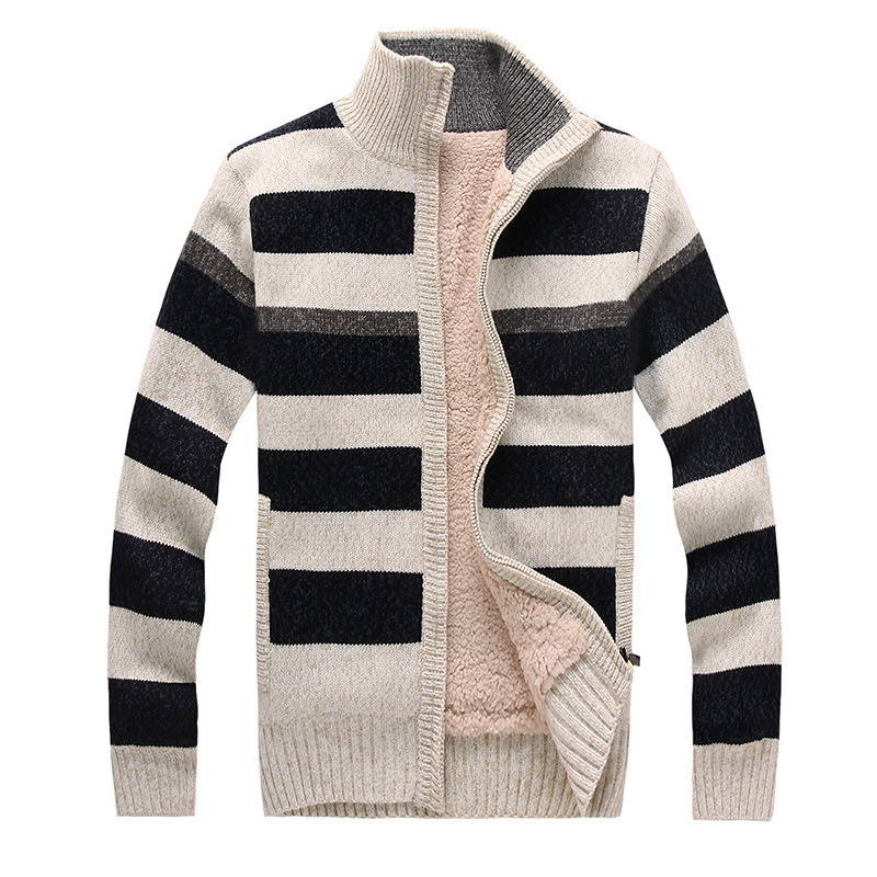 Get Quotations · Mens Striped Sweater Zipper Knitting Pattern Cardigan  Striped Sweater Thick Fleece Wool Stand Collar Casual Sweater 19c25eeff