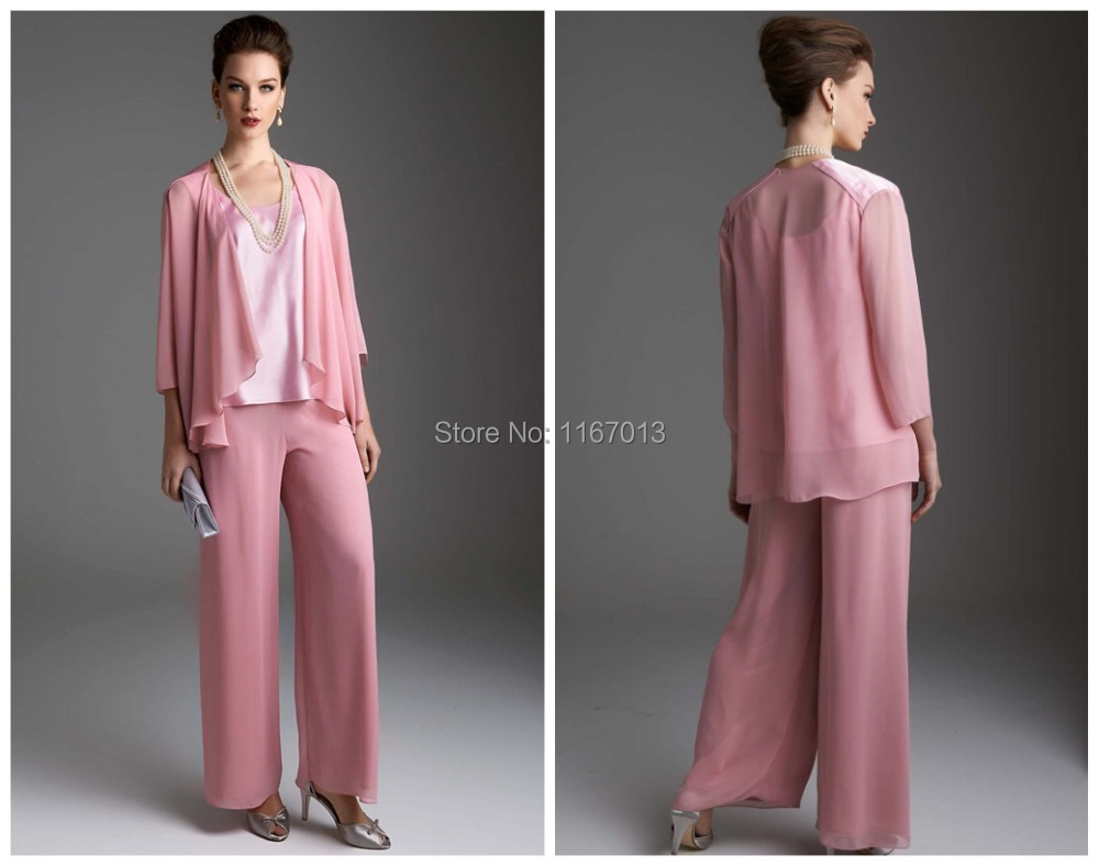 2015 New Fashion Pink Chiffon Mother Of The Bride Pant