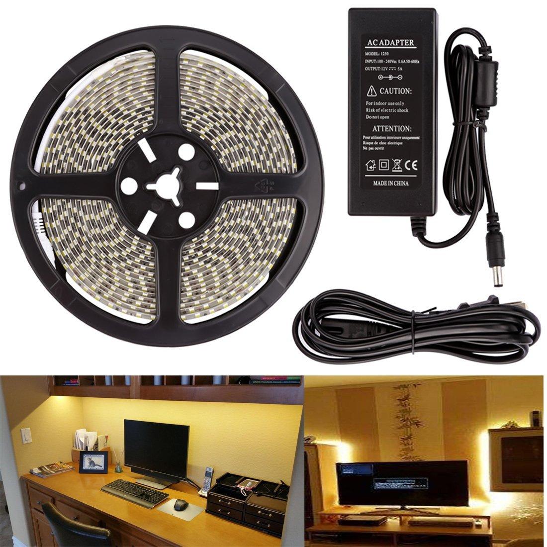 LEDMO SMD 5050 LED Strip, Warm White 3000K, 16.4Ft, Super Bright 300 Units, Waterproof, Flexible LED Strip Lights, With DC12V 5A Power Supply