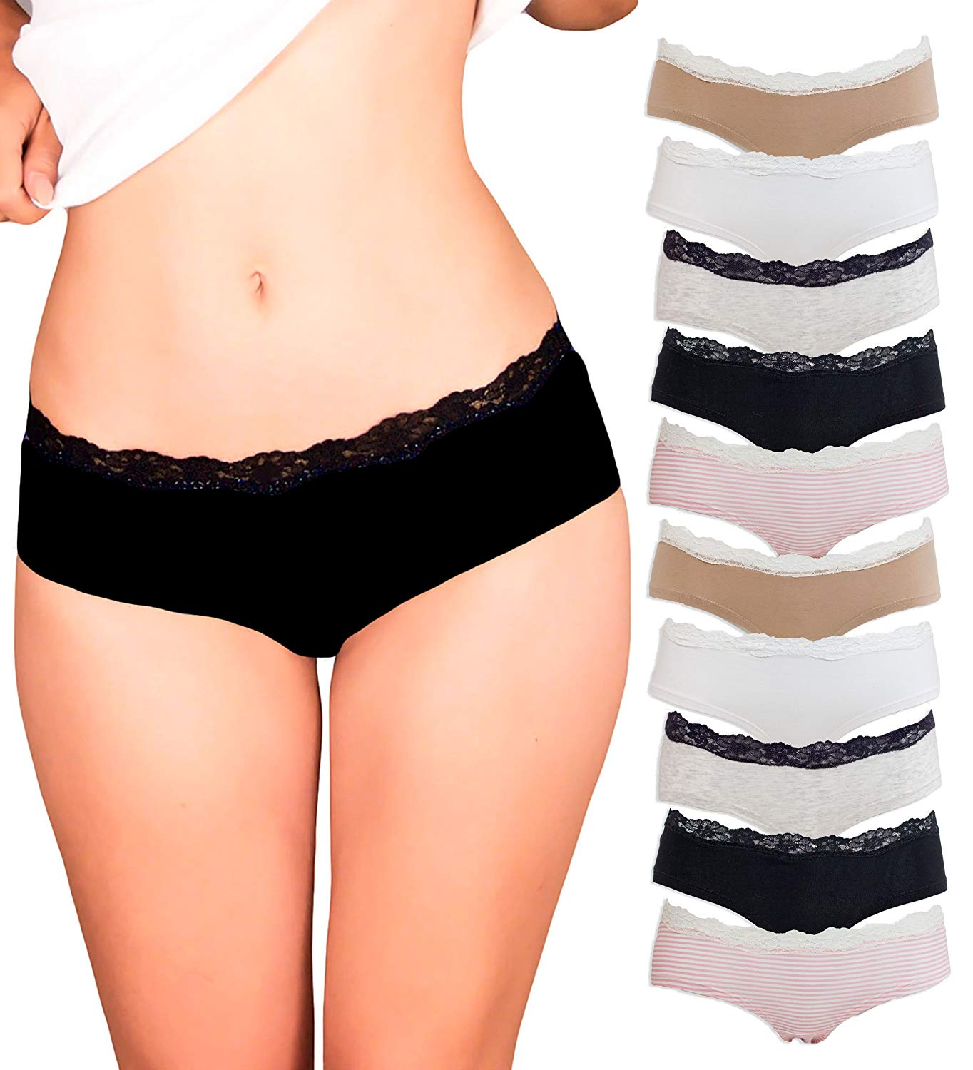 dd9e57d9c Get Quotations · Emprella Womens Lace Underwear Hipster Panties Cotton  Spandex - 10 Pack Colors and Patterns May