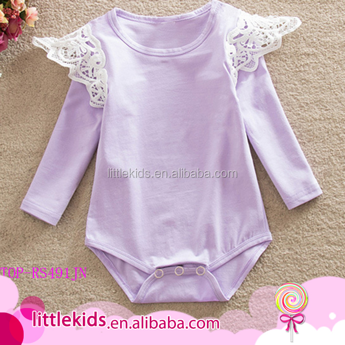 f82efa5dd Vintage Floral Solid Stripes Bulk Cheap Summer Bodysuit Newborn Baby  Clothes Three Layers Flutter Long Sleeves