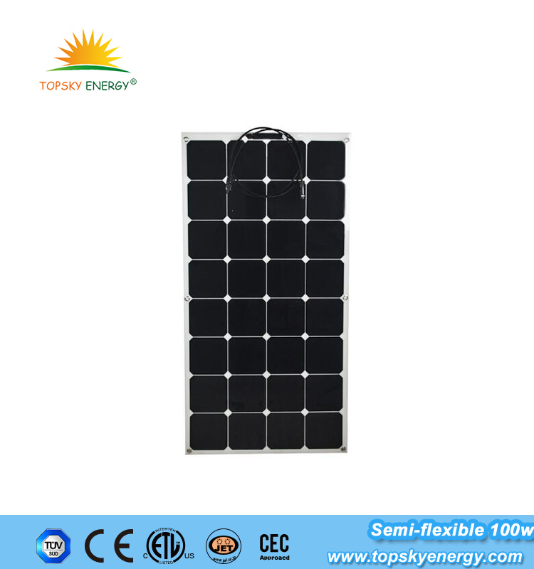Sunpower semi flexible solar panel 100w with high efficency monocrystalline solar cells