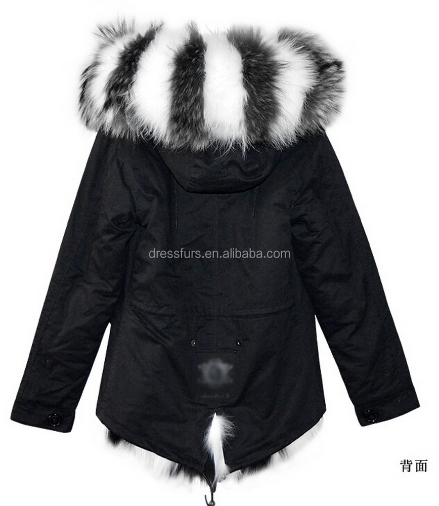 Wholesale Fashion Black&White Fox Fur Lined Cotton Shell Parka Winter Ladies Clothes