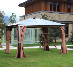 Garden aluminum PC board gazebo tent with solar light