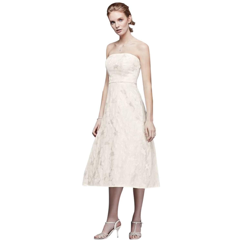 f017caef52115 Buy Davids Bridal Floral Jacquard Tea-Length Wedding Dress Style ...