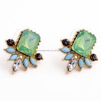 Good quality fashion women green diamond stud earring