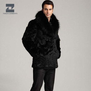 Men's Winter Zipper Design Real Fur coat with big real fur collar winter coat